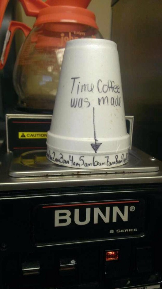 "Get 2 cups Use one to write down the times and put it inside of the cup that had ""time it was made"" and twist as you need"
