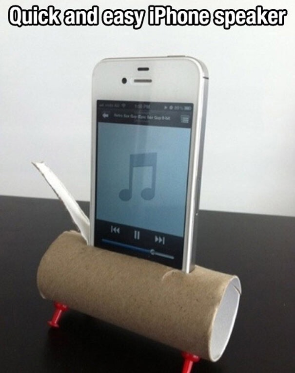 Cut a hole a a toilet/paper towel roll that fits your phone and when you put your phone in it you have a instant speaker