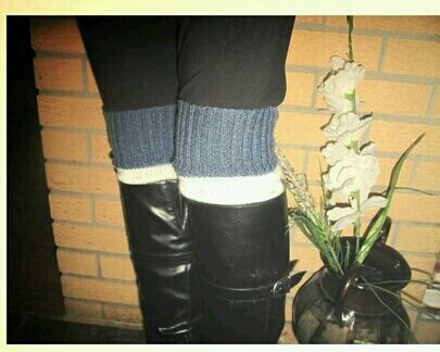 cut the sleeves off a sweater for instant boot cuffs/leg warmers