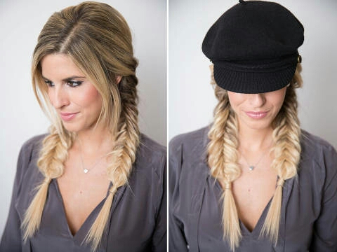 Start by sectioning your hair into pigtails and divide each section into two (this is instead of three sections, like you would for a regular braid). Next, hold both sections in one hand, separated by your pointer finger, and use your other hand to grab a small piece of hair from the outside of one