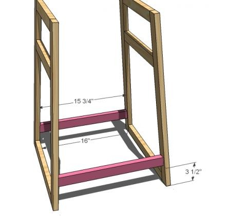 Now here is where things get a little tricky. Drill pocket holes on both ends of the bottom supports, two per end. Mark the sides 3 1/2″ up. Then glue, clamp and screw with 1 1/4″ pocket hole screws the bottom supports to the sides. Center the bottom supports on the width of the legs. A right angle