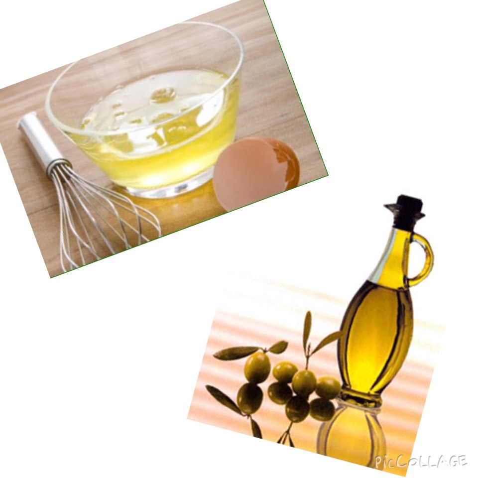 Mix a white of egg with a spoon of olive oil.