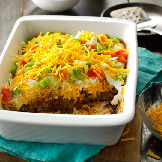 Follow this recipe for taco casserole!