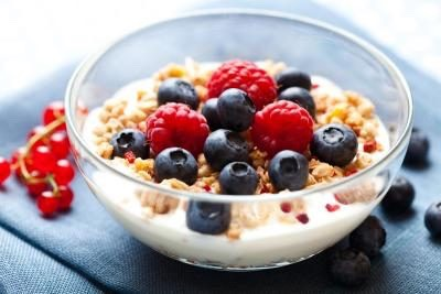 Low fat yogurt - plain low fat yogurt with granola and berries tastes super yummy but also has amazing health benefits