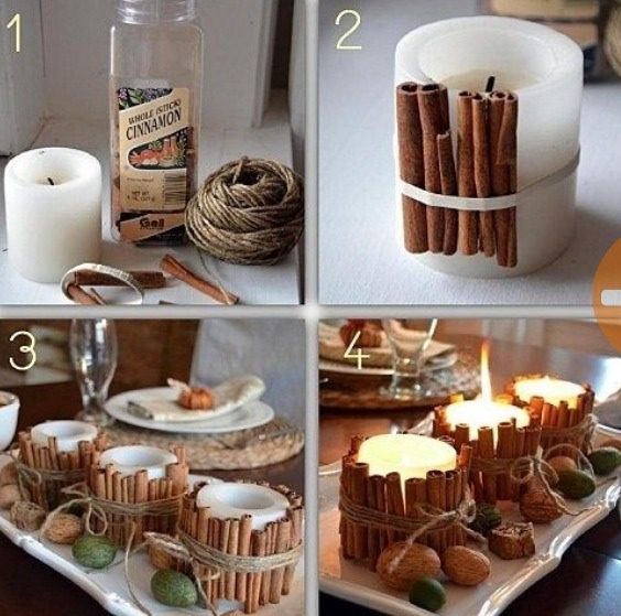 Attach cinnamon sticks to candles! The heat from the flame will make your home smell like deliciousness!