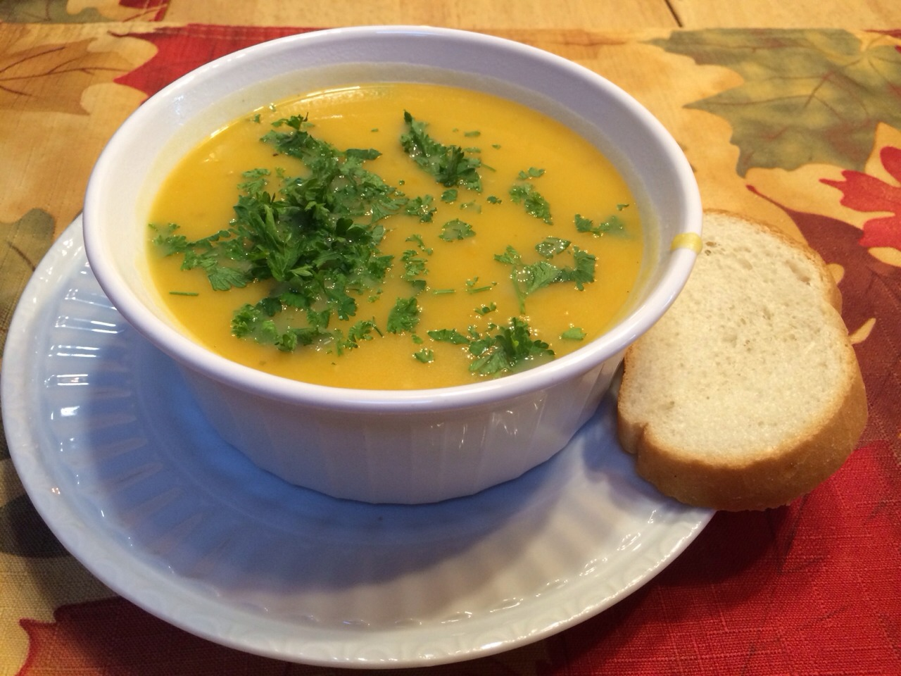 Butternut squash soup (my picture of the soup, this is how it should look if you follow the recipe)