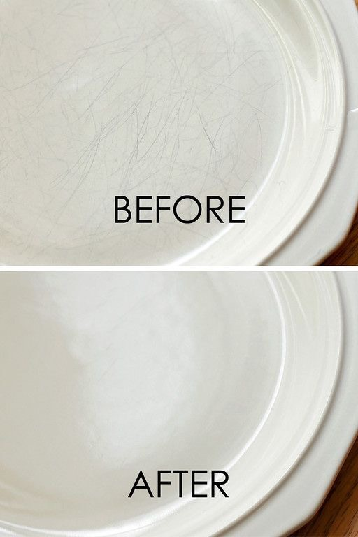14.Removing Scratches On Ceramic …with something you wouldn't expect! These plates look brand new in the after photo, don't they? There's no reason to replace your favorite dinnerware just because it has a few scratches. Even if you only have a few, this will certainly polish them up.
