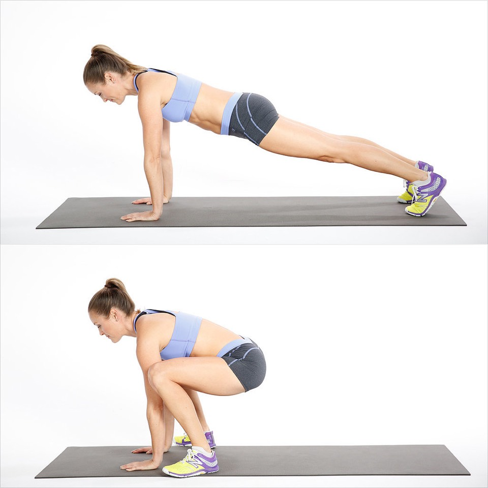 8. Frogger – 15 Reps •Start in a plank position, jump both feet to your hands, and then jump your legs back to plank. •You can modify by stepping feet to your hands one at a time and then stepping back into plank.