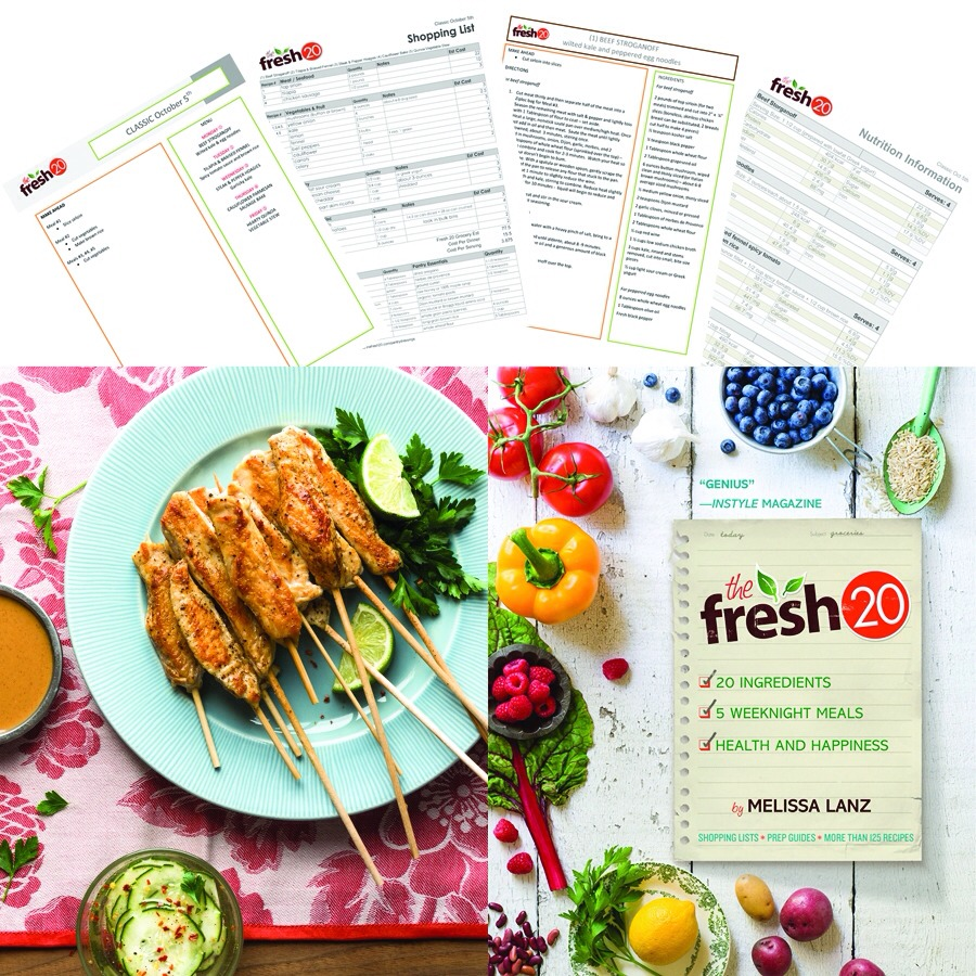 The fresh 20 is a website that gives you a shopping list for the whole week. It is a meal planner. The shopping list has things that will be used more than once so you don't waste anything! Plus, the meals are delicious and super healthy!