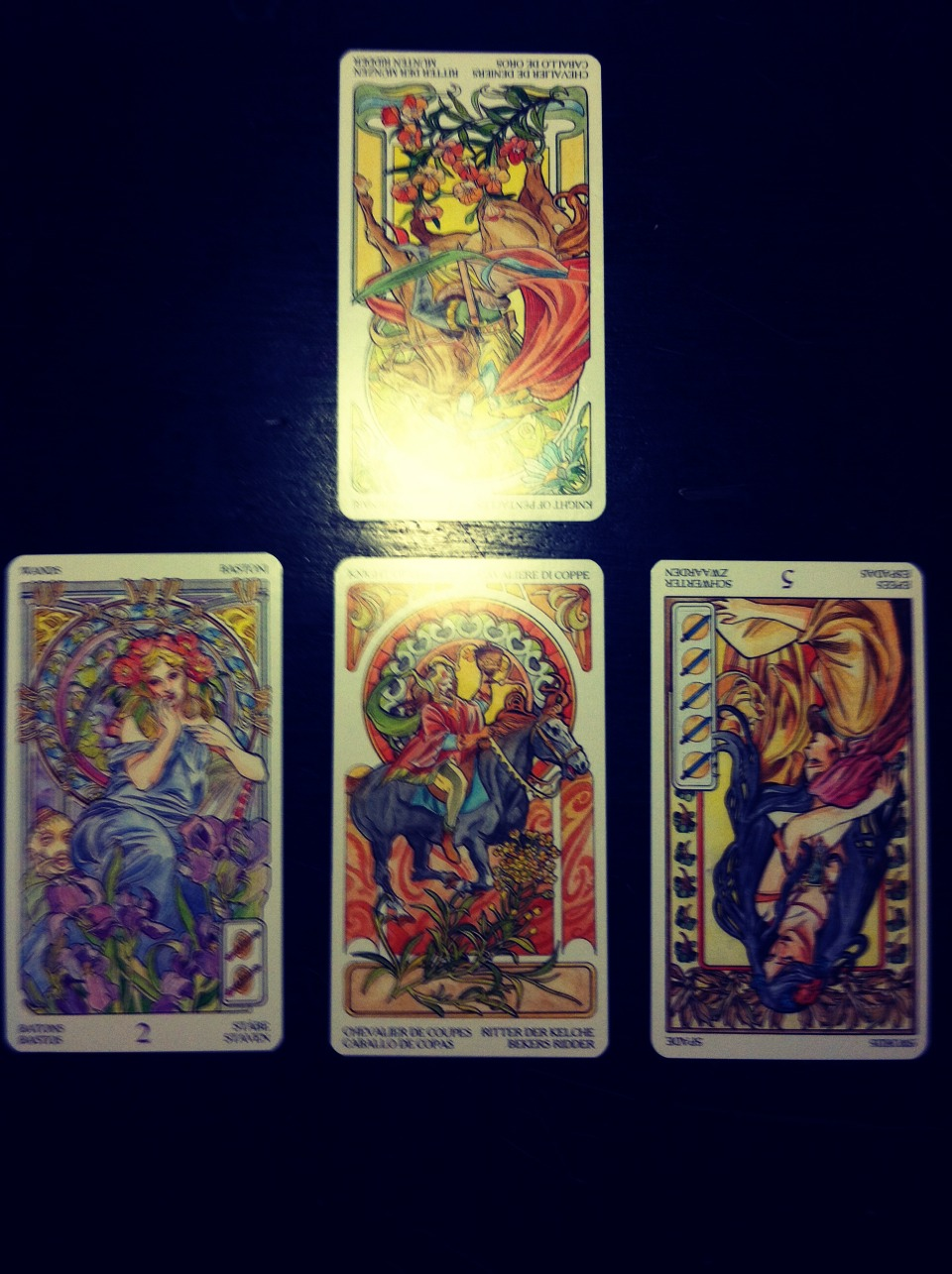 Within the suits it is up to you, the reader, to find your own meaning in the cards. The past influences the present, which is resolved by the future. Look at who you are reading for. Find what they are looking for in the cards.