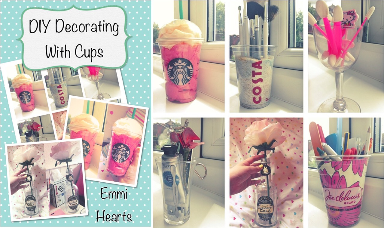Step One: Re-using! You can make use out of anything really, just like this person has used old cups and glasses to give their room a quirky look, so think twice before you throw away that Starbucks cup!