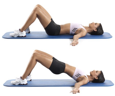 Do 15 hip raises , hold each for 5 seconds