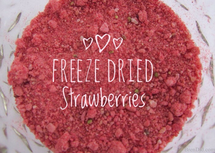 Freeze dried strawberries have been dehydrated to remove moisture but still contain all the lovely color, scent, + flavor of fresh strawberries. Grinding them into a powder + adding them to my recipe resulted in a lightly strawberry tinted, scented + flavored balm with NO artificial ingredients!