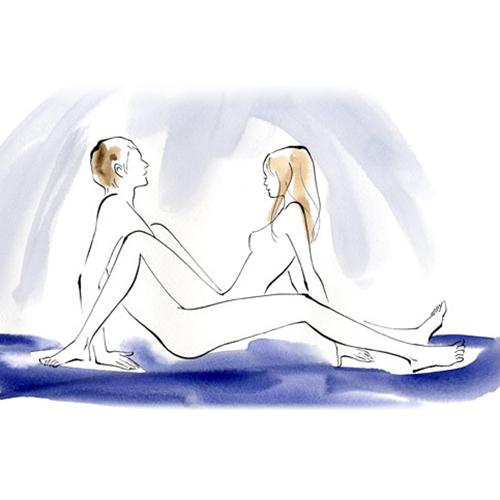Golden Arch How He sits with his legs straight and you sit on top of him with bent knees on top of his thighs, and you both lean back.  Benefit Gives you both nice views of each other's full bodies. You'll also have control over the depth, speed, and angle of the thrusts.
