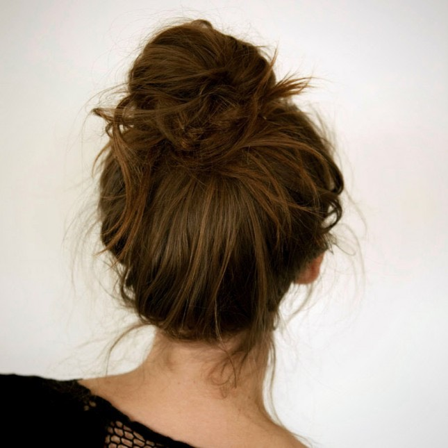 A messy bun, it's cute and stylish and easy to do