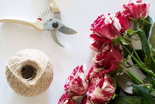 What You Need: 1. Roses 2. Floral Shears 3. Twine