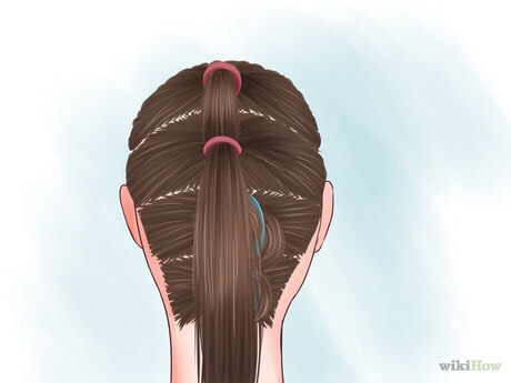 Tie the second section into a ponytail, adding the first ponytail.