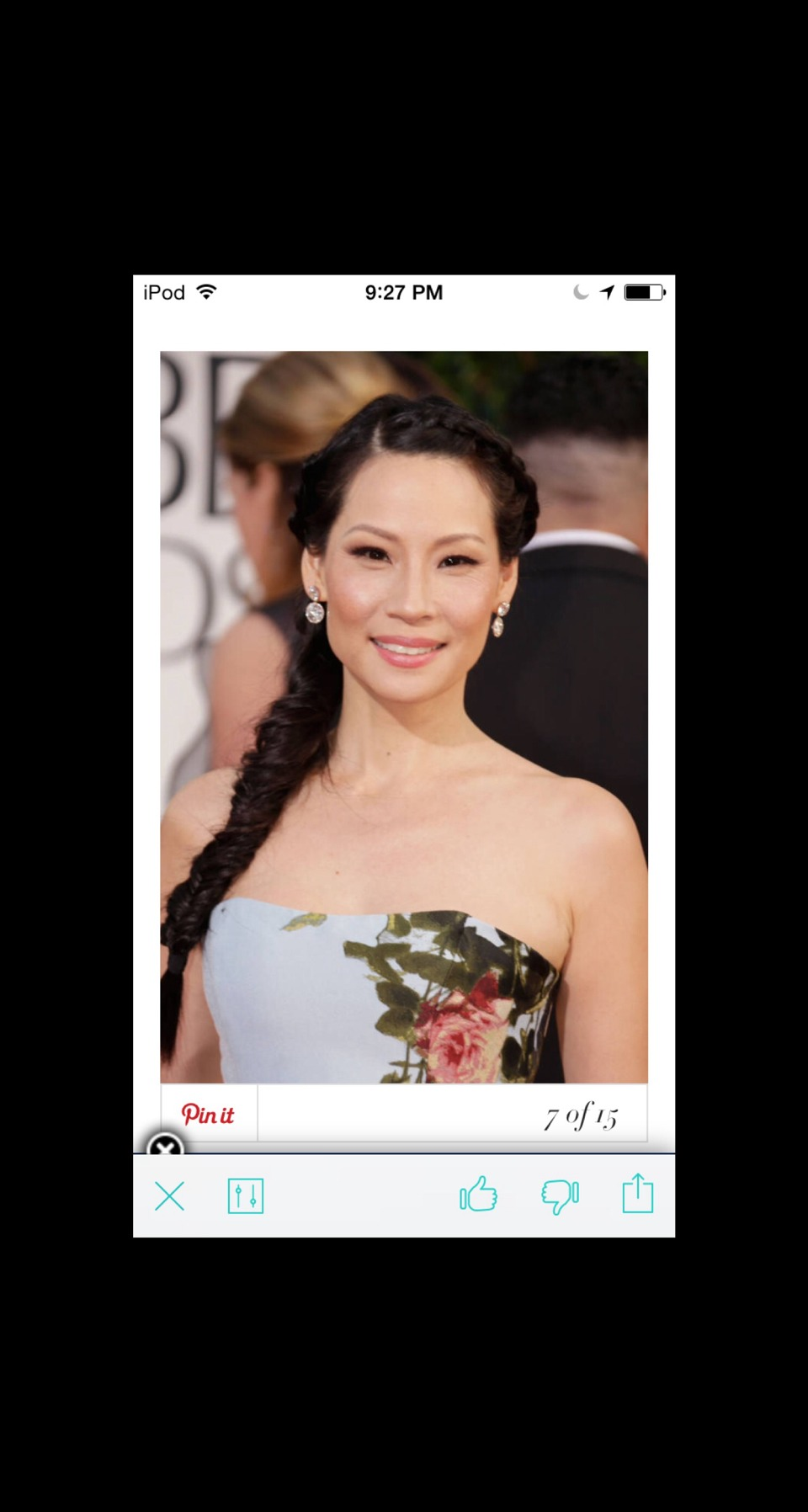 Side Note Lucy Liu's fishtail begins at the hairline, creating a regal touch for an evening affair.