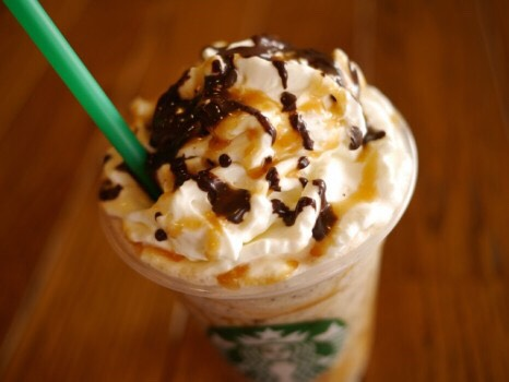 twix frappuccino: •Caramel Frappuccino •Add hazelnut syrup (1 pump for a tall, 1.5 pumps for grande, 2 pumps for venti) •Add java chips •Whip cream blended in •Coat the cup with caramel sauce •Top with mocha drizzle