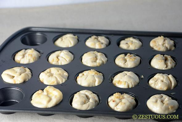 Place the balls in a mini muffin pan (open side up).