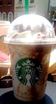 Chocolate chip brownie   •vanilla bean frappuccino  •add java chips •add mocha syrup  •whipped cream and chocolate drizzle