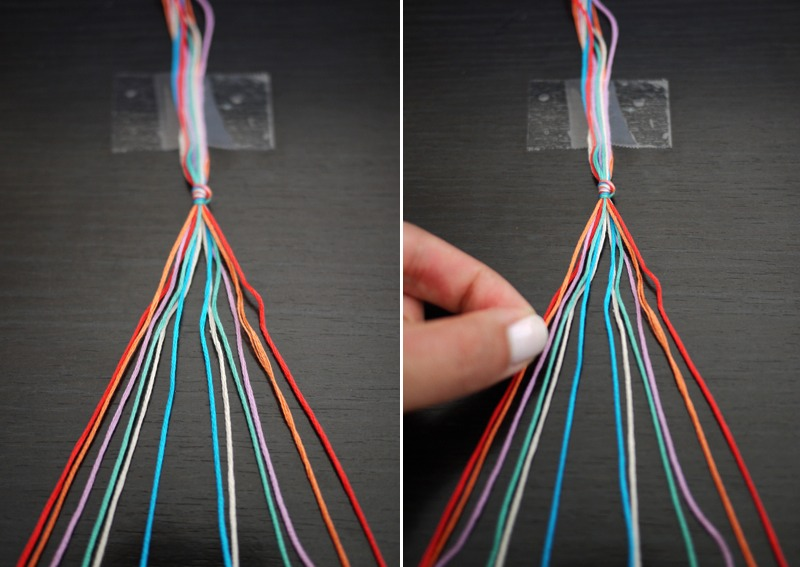 Tie all 12 strings together (6 different colors) and tape them to a flat surface. Start with the string farthest to the left!