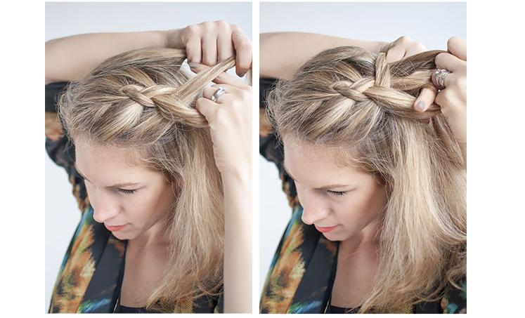 Begin your Dutch braid by bringing the right section under the middle, and the left section under the right. Then add some hair to the middle piece (now on the right side) and bring it under.