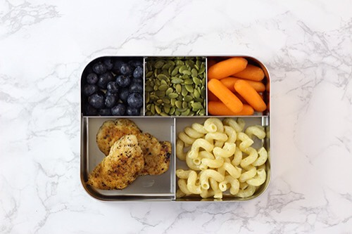 8 | Leftovers Lunch ComboWe'renotorious for making too much pasta salad (coleslaw, potato salad, fill-in-the-blank). Thankfully, it's a perfect thing to pack for lunch the next day.  1. Grilled chicken breast 2. Baby carrots 3. Blueberries 4. Pasta salad 5. Pepitas
