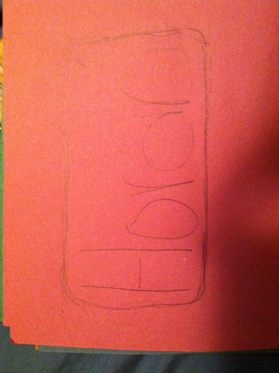 This part is optional.  Trace around your phone case and sketch out how you want your letters to look.
