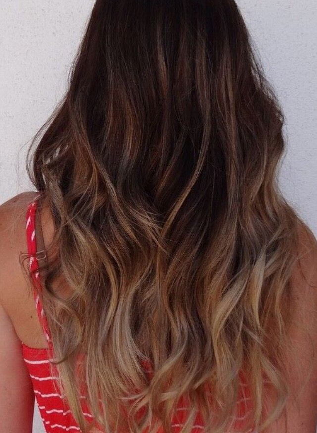 this hair color is so shay mitchell with the sombré brown lowlights