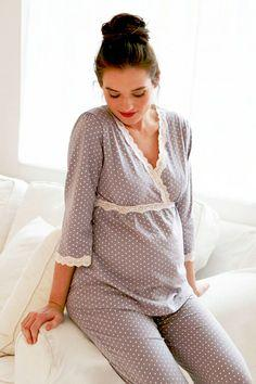 Soft maternity pajamas to wear for bed and when nursing your child