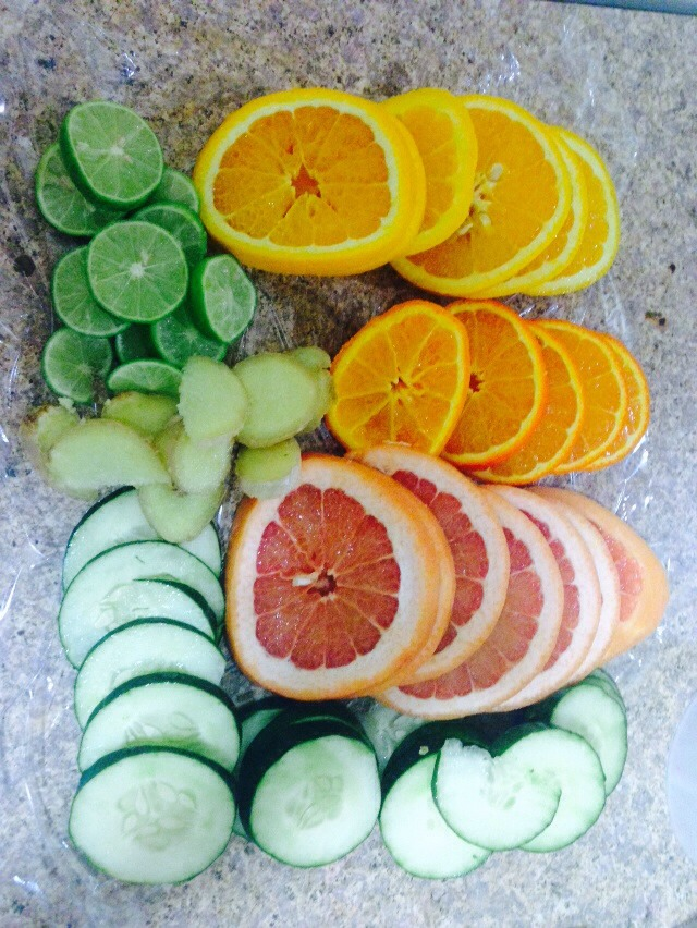 The detox water ingredient ull need cheap too so no excuse of not buying Cucumbers OrangeGingerTangerineLimonGrapefruit MintAnd one gallon of water NO SUGAR ADDED IF U ADD THEIR MO POINT FOR THIS   Do it a night before so it the water can absorb all the good flavors