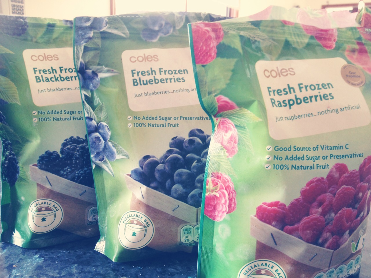 I can understand the hesitation of having 'frozen foods' however frozen berries are an excellent substitute if you want to avoid paying so much for fresh fruit (of course fresh fruit is absolutely amazing- but when you're on the go- this suits just perfectly!)