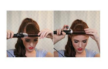 Begin wrapping your bang section around your curling iron, spreading the hair the whole length of the curling iron, spreading them as wide as you can. CUrl right up to your scalp and hold for just a few seconds before proceeding.