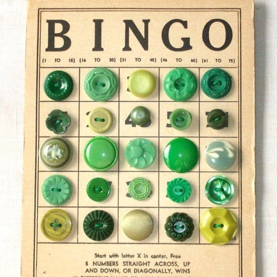 Use an old bingo card to display vintage buttons.