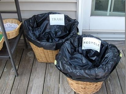 Line popup laundry hampers or baskets with trash bags. Label them and put them everywhere.