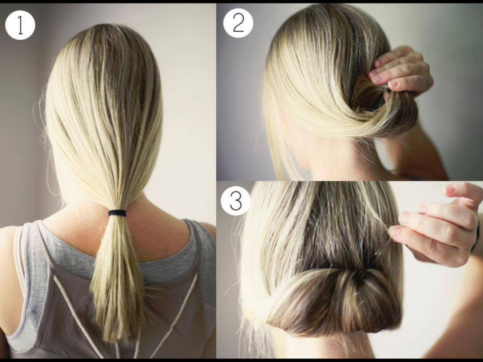 Pull your hair into a lose ponytail, roll it up tuck it in lightly and gently.  Secure with bobby pins if needed!                             • e n j o y •