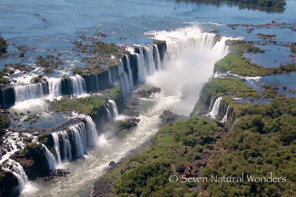 ✨Iguassu Fall Located in Brazil, in the river with the same name where Brazil boarders with Argentina. The fall consists of 275 falls on over 2.7 km. The highest part of this fall reaches 82 metres and is the most spectacular part.