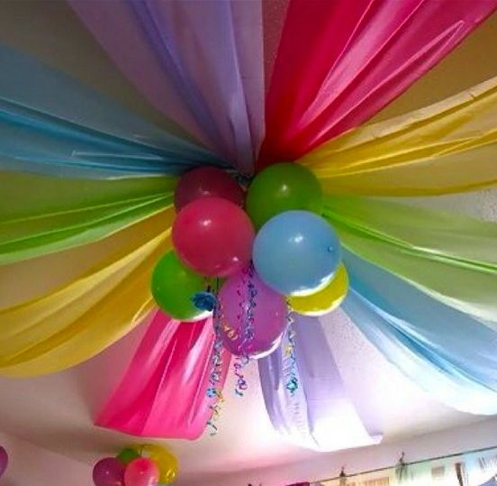Found on Pinterest: I used table cloths of diffrent blue and green shades to match our under the sea baby showers