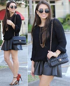 Black skirt + black sweater = simple chic