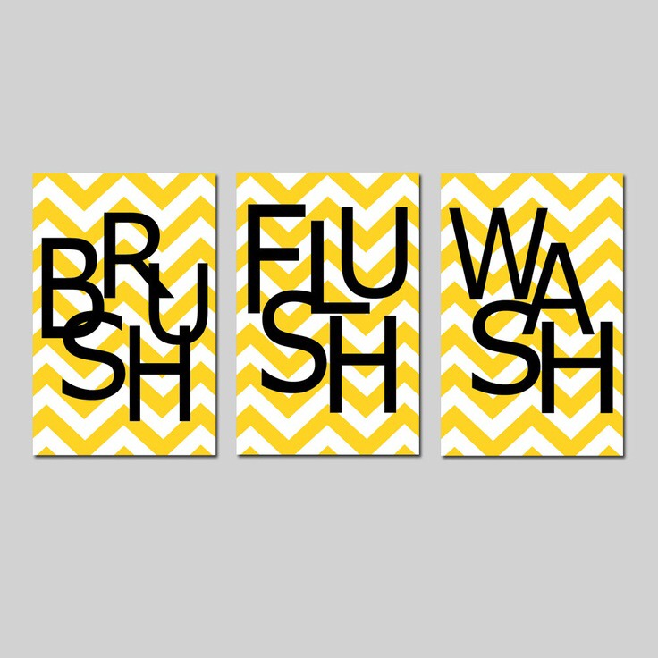 -> Just paint fun pattern like chevron on canvas and then stencil on letters to spell out words like brush, flush, and wash or somwthing else
