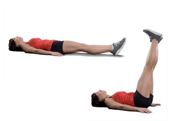 Lying Leg Raise / Lift – 3 sets 15 reps