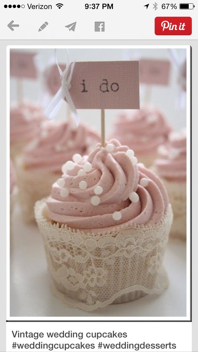 I love the lace and the little I do sign . Something different instead of a cake , why not have cupcakes
