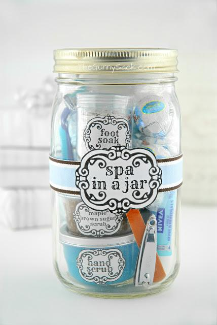 A wonderful pampering gift in a jar perfect for a date night, Valentine's Day gift, or new mother.  It really is perfect for any woman.  It's filled with foot soak, hand scrub, lotion, hair mask, razor and pebble candles.