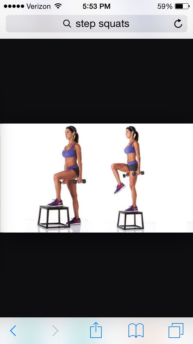 Then do 15 step squats on each leg. You can hold weights or not, it only matters if you want a more intense workout.