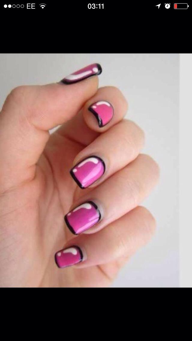 Pink and black cartoon nails