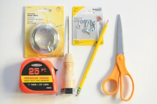 you will need: steel wire * screw eyes * tape measure * ice pick * scissors * pencil