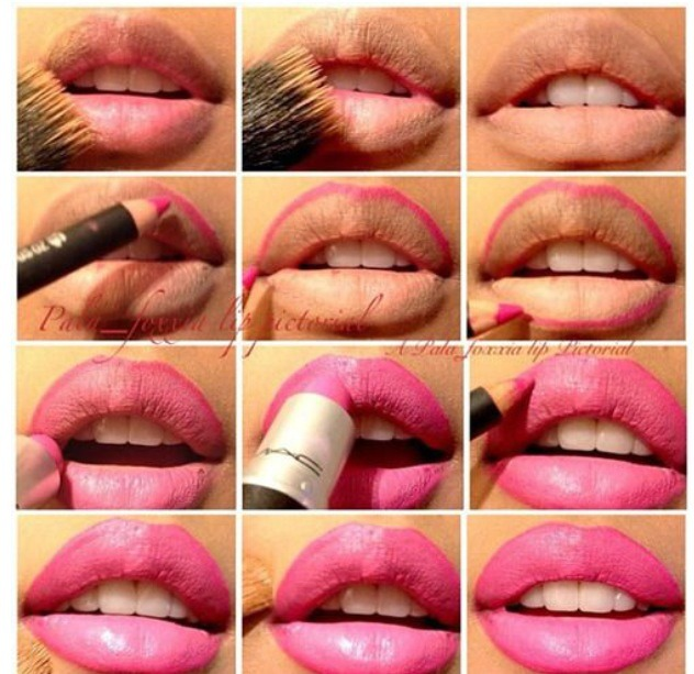 1. Cover your lips nude powder or any type of makeup base.   2. Use a bright lip liner to line the lips.   3. Apply your favourite lipstick cover. You will notice the coverage is better than, when using it on bare lips  4. Add some lip gloss and you are now a real temptation!   💕beautifulshoes.org
