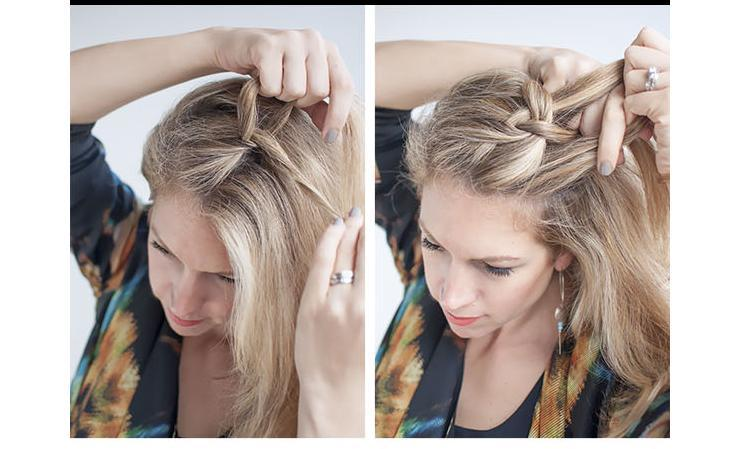 Start by brushing your hair to remove any knots before you being to braid. This braid begins roughly over my right eye and goes down my left side but you can also do it down the other side of your face. Take a one-two inch section of hair and split it into three.