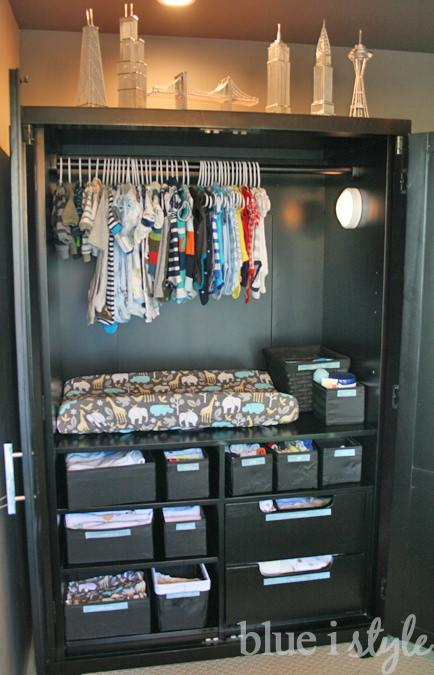Lastly, from Angela at 'Blue I Style', this is the most creative DIY armoire makeover I've seen. She re-made this old piece into a baby changing table/ everything station! Love the idea!